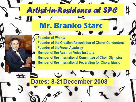 Mr. Branko Starc -- Artist-in-Residence at SPC